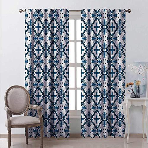 Toopeek - Cortina de color azul y blanco resistente al desgaste (100 x 84 pulgadas), diseño de azulejo tradicional portugués, tela impermeable, color azul oscuro, blanco