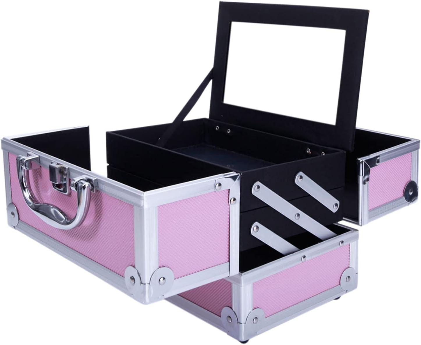 Makeup Train Spasm price Case Portable Cosmetic Louisville-Jefferson County Mall Jewelry Box Lockab Organizer