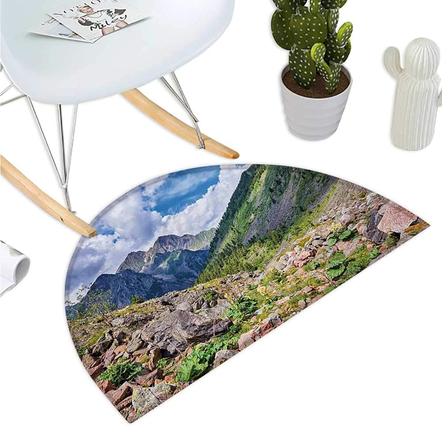 Landscape Semicircular Cushion Mountains Wild Rhubarb Natural View Eastern Siberia Scenic Scenery Cloudy Sky Entry Door Mat H 39.3  xD 59  Multicolor