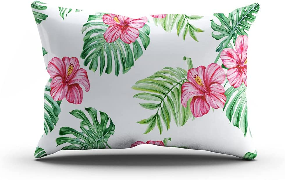 Suike Super-cheap Throw Pillow Cover 12x24 Hibiscus Lumbar Trop Inch Limited price sale Flowers