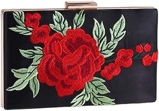 HUIfenghe Personality Fashion Rectangular Rose Embroidery Bag Korean Women's Messenger Bag Banquet Clutch Bag Dress Bag Black and White Powder Size: 20 * 12 * 4cm (Color : Black)