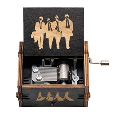 Pursuestar Black Wood Hand Crank Laser Engraved Vintage Wooden Music Box Wedding Valentine Christmas Birthday Musical Gift - The Beatles Let It Be