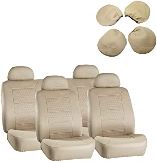 ECCPP Universal 5MM Padding Soft Car Seat Cover w/Headrest - 100% Breathable Embossed Cloth Stretchy Durable Beige for Most Cars Trucks Vans