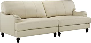 Classic 2 Piece 100% Real Leather Sofa, Convertible Living Room Couch (Beige)