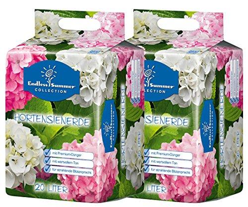 Floragard Endless Summer Hortensienerde rosa/weiß 2x20 L  • zum Pflanzen und Umtopfen • für Beet- und Kübelbepflanzung • für weiße, rosa und pinke Hortensien • mit Tongranulat • 40 L