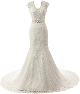 Real Pictures Embroidery Lace Mermaid Court Wedding Dresses Bridal Gowns