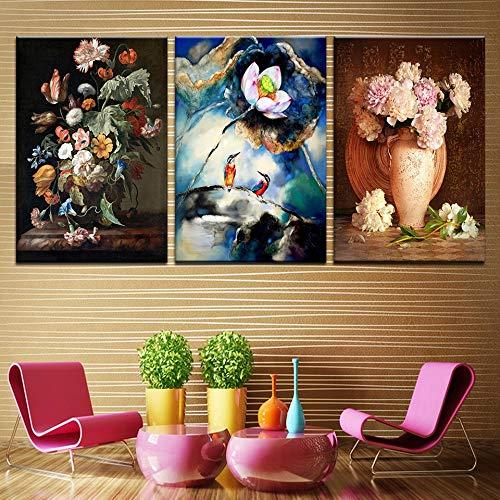 oioiu Gemalter Druck Kolibri 3 abstrakte Lotuspfingstrose Nordische Wandkunst Meisterwerk Wohnzimmer Aquarell Pflanze Blume Leinwand Ölgemälde Poster