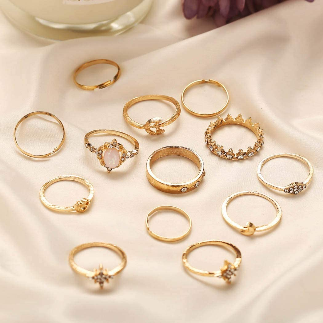 deladola 13pcs Boho Ring Set Gold Rhinestone Joint Knuckle Rings Star Moon Crystal Stackable Midi Hollow Hand Jewelry for Women and Girls