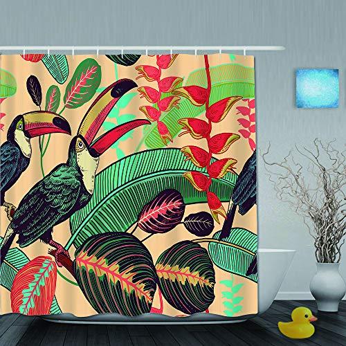 Aliciga Duschvorhang,Vogel Tukane auf Hintergrund der tropischen Blätter und Blumen,personalisierte Deko Badezimmer Vorhang,mit Haken,180 * 210