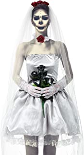 Ladies Zombie Corpse Bride Costume Halloween Photorealistic Blloody Fancy Dress