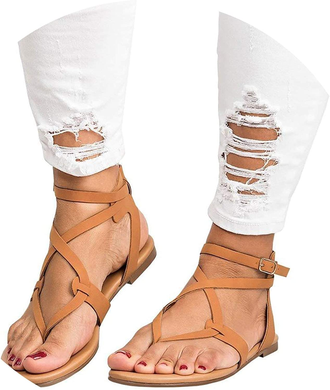 ALWAYS ME Sandals Gladiator Flip Flop Flat Heels Sandals Women Fashion Buckle Strap Summer Beach Sandals