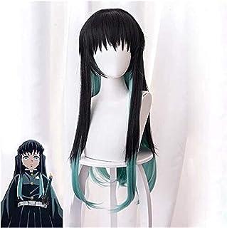 YYCHER Demon Slayer: Kimetsu No Yaiba Tokitou Muichirou Cosplay Wigs 75cm Long Straight Synthetic Hair Anime Party Wig Bla...