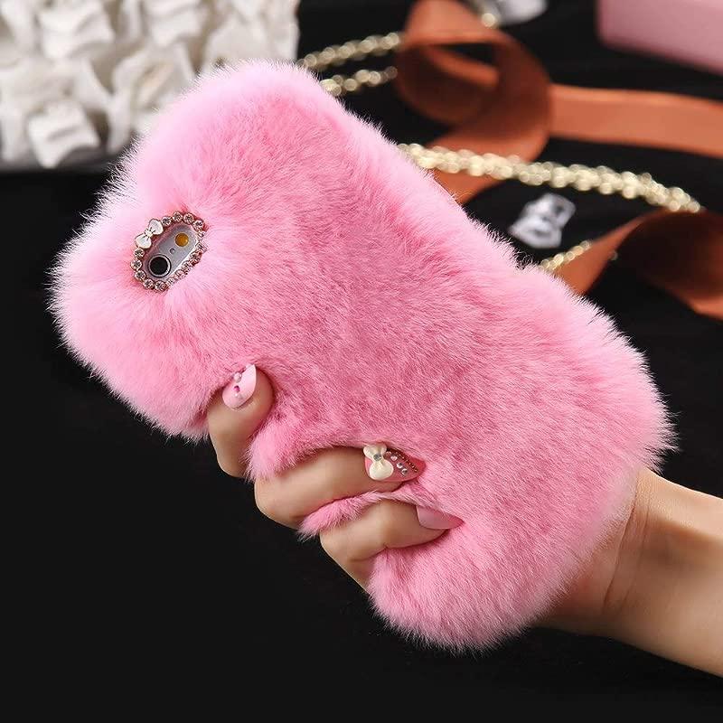 Cfrau Furry Case With Black Stylus For Samsung Galaxy S10 5G Winter Warmed Fashion Faux Rabbit Bunny Fur Fluffy Plush Soft Case With Cute 3D Crystal Bowknot Pink