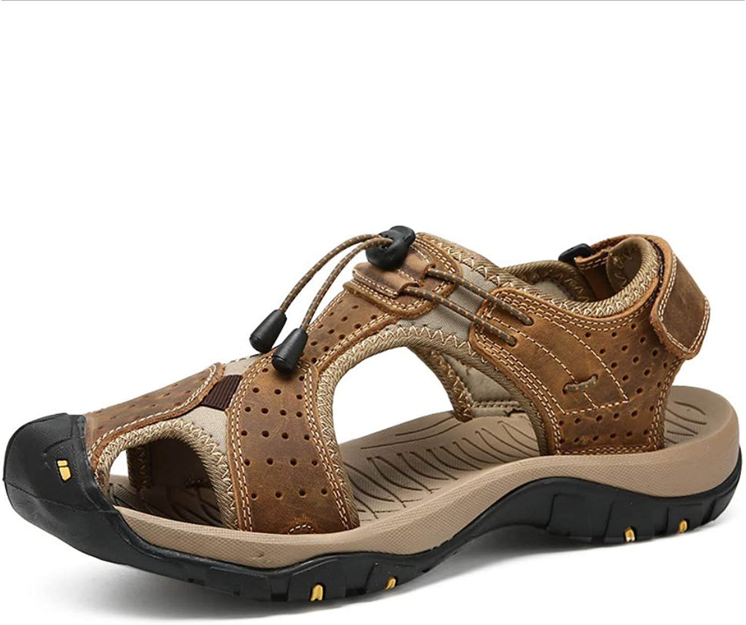Outdoor Sports Sandals, Men's Leather Fisherman's Breathable Sandals, Summer Casual Sports shoes, Walking Beach Travel, Baotou Large Size Shock Absorption, Quick Dry and Light,Brown,38