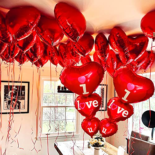XtraLarge 12+2 Red Heart Balloons - Big Pack of 14 I Love You Balloons 36 Inch | Happy Anniversary Balloons, Romantic Balloons for Romantic Decorations Special Night , Valentines Day Decorations