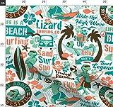 Eidechse, Retro, Surfen, Wellen, Ozean, Surfbrett Stoffe -