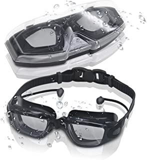 GLOUE Swim Goggles, Swimming Goggles with Attached Ear...