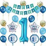 Nvetls 1er Cumpleaños Bebe Globos Decoracion Cumpleaños 1 Año Bebe Niño y Niña (Azul)