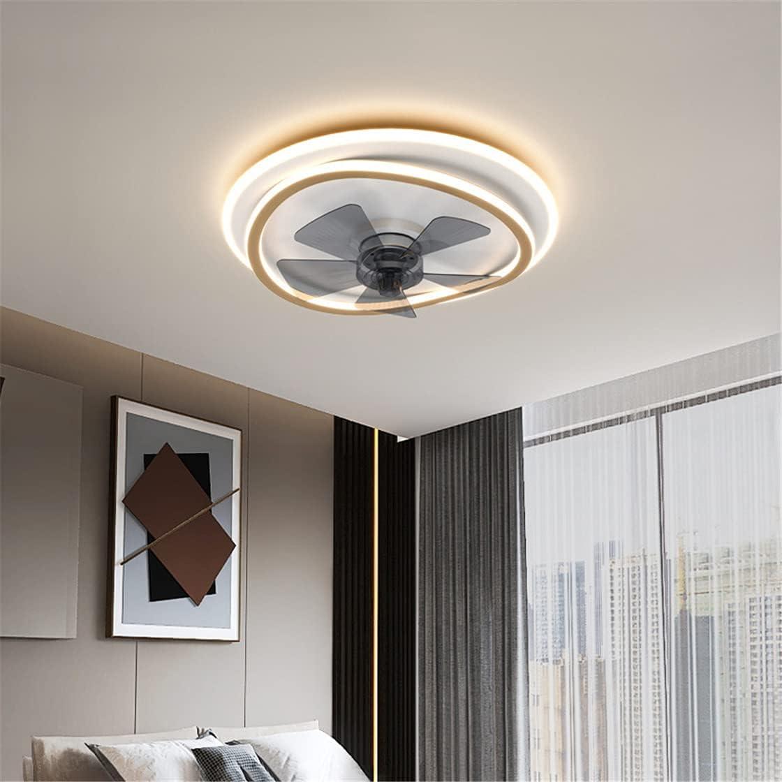 OMGPFR Lámpara de Techo con Ventilador silencioso, Iluminación Moderna de Ventiladores de Techo LED y Control Remoto Regulable 6 Luces de Velocidad del Viento Ajustables Lámpara pequeña