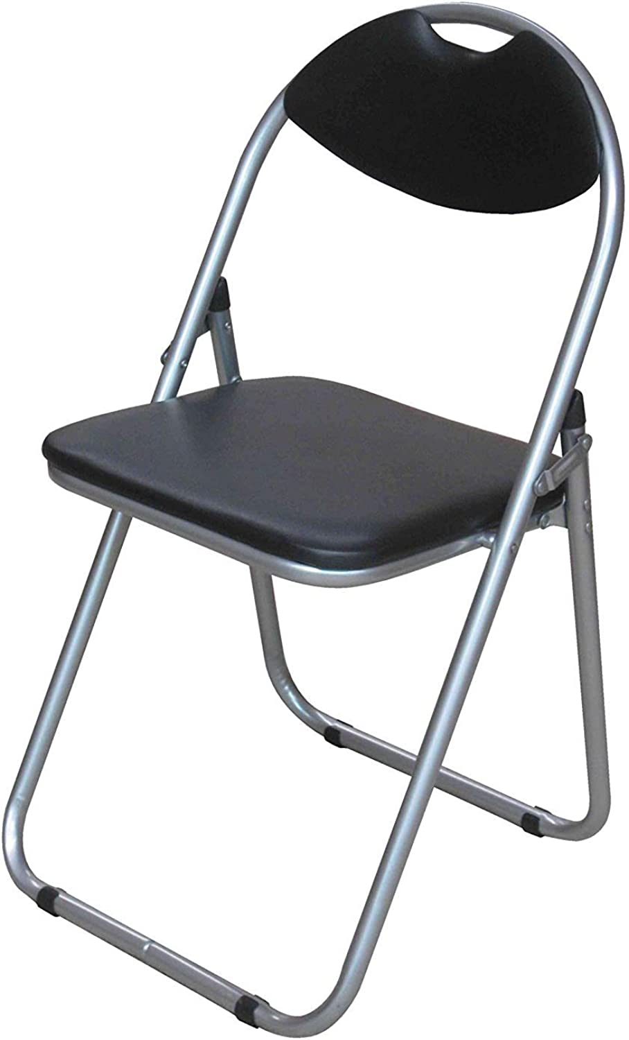 Premier Housewares Folding Chair with Leather Effect Seat and Silver Powder Coated Frame, 79 x 45 x 47 cmBlack