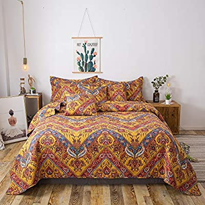 Brown Multi Color with Paisley Motifs Bed Linen