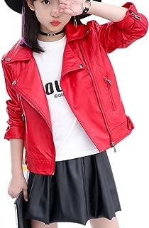 Girls Fashion PU Leather Motorcycle Jacket Children's Outerwear Slim Coat 2-12 Years