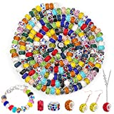200 PCS Large Hole Beads for Jewelry Making,Kanzueri European Beads Spacer Beads with Mixed Color Rhinestone Charms Beads for DIY Craft Bracelet Necklace Earring Making