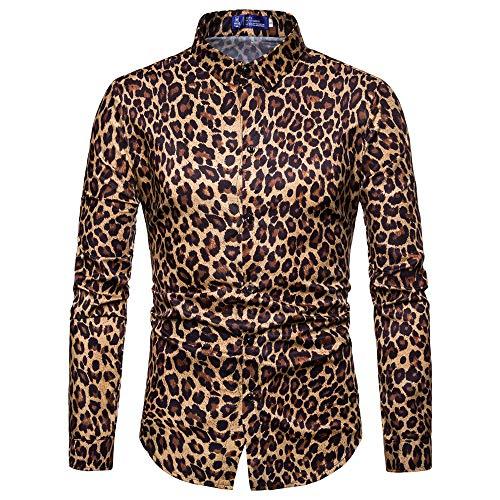 DNOQN Herren Pullover Slim Fit Baumwoll Shirts Herren Mode Leopard Drucken Gedruckt Bluse Beiläufig Langarm Slim Shirts Oberteile XL