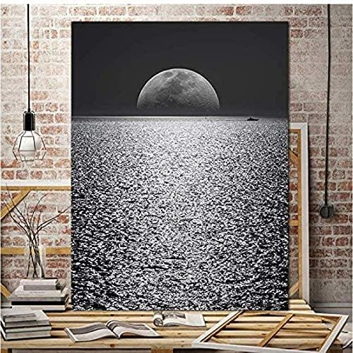 YHJK Pinturas en Lienzo Luna Arte de la Pared Imágenes Minimalismo Moderno Impresión de Arte en Blanco y Negro Carteles Pintura Decoración de la Sala de Estar del hogar 70x90cm sin Marco