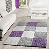 Alformbra moderna de pelo Shaggy con patrón de cuadros, polipropileno, morado, 120 x 170 cm