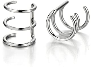 2pcs Silver Color Stainless Steel Ear Cuff Ear Clip Non-Piercing Clip On Earrings for Men and Women