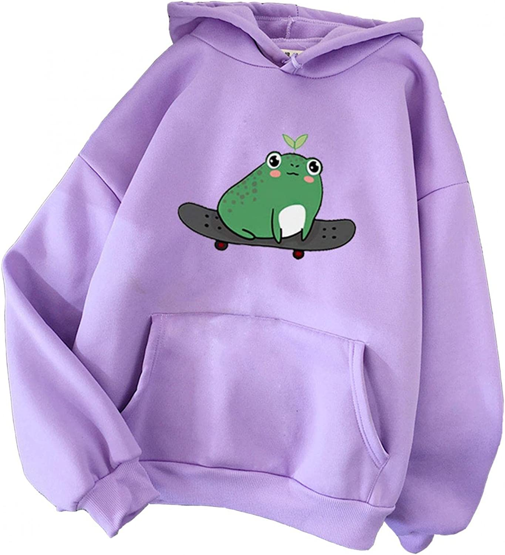 Hotkey Hoodies for Women, Women's Kawaii Drawstring Sweatshirts Cartoon Frog Printed Hooded Active Pullover Tops