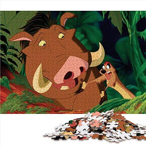 1000 Puzzleteile für Erwachsene The Lion King Boar and Meerkat 1000-teiliges Puzzle für Erwachsene und Kinder Familienteam Bildung intellektuellen Stressabbau Spielzeug 38x26cm