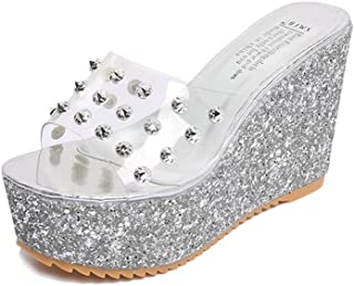 lcky Rivet Women's Sandals Rhinestone Wedge Shoes Sequins Slippers high Heels