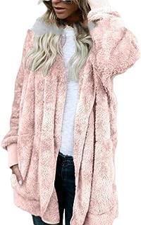 Women's Hooded Cardigan Fuzzy Fleece Jacket Open Front Coat Outwear