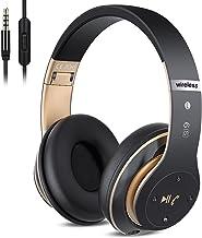هدفون های بی سیم 6S از طریق گوش ، هدفون های استریو بی سیم قابل استریو تاشو گوش با گوش میکروفون داخلی ، کنترل میزان صدا ، FM برای آیفون / سامسونگ / آی پد / کامپیوتر (سیاه