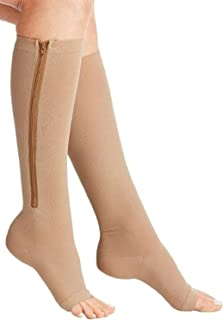 "Bcurb Zipper Graduated Compression Socks 20-30 mmHg for Men & Women, Athletic Fit for Running, Nurses, Shin Splints, Flight, Travel, Maternity & Pregnancy (Nude, (Calf 12""-15"") - XX-Large)"
