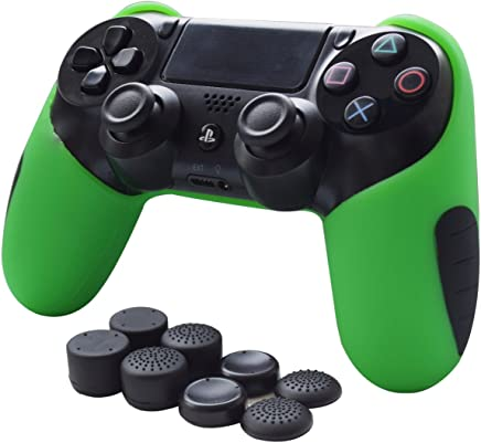 Skin Compatible for PS4 Controller Grips Pandaren Soft Silicone Thicker Half Cover for PS4 /Slim/PRO Controller (Green Skin X 1 + FPS Pro Thumb Grip X 8)