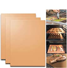 KITHOM Copper Grill and Bake Mats, Reusable Non Stick Grill Mats for Oven Baking and BBQ, FDA Approved, PFOA Free, Heat Resistant, Easy to Clean, Works on Gas, Charcoal, Electric Grill, Set of 3
