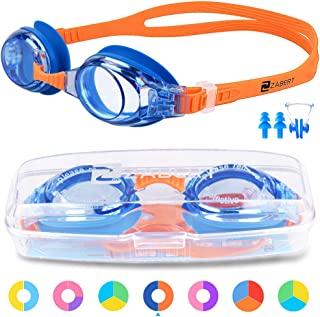 for Fun Triathlon Indoor Open Water Hard Case Nose Clip Ear Plugs ZABERT Kids Swim Goggles for Children Age 0-14 Years Old Leakproof Shatterproof Anti-Fog UV Protection Quick Adjust
