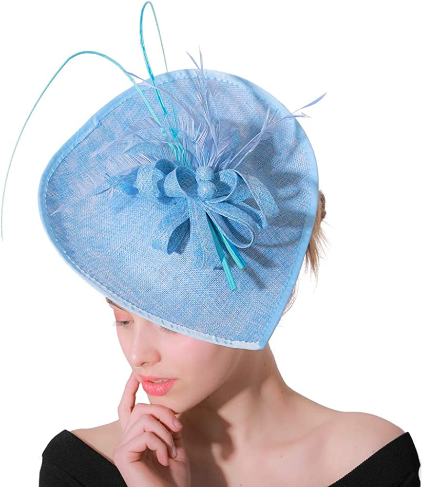 YONQUIL Ladies Hair Fascinators for Weddings Hats Women Elegant Derby Party Tea Feather XMF118