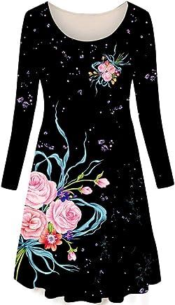 XSY bluee And White Porcelain Print Dress Ladies Wear Round Neck Long Sleeve Retro Female Black
