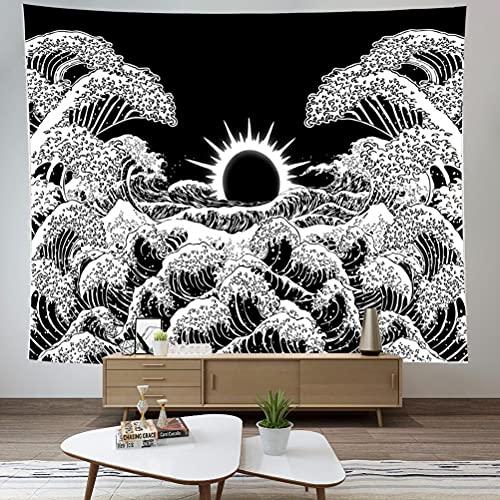 kuou Tapices para colgar en la pared, diseño de olas del océano y sol, manta de paisaje natural, arte de pared para decoración de dormitorio (blanco y negro, 51 x 59 pulgadas)
