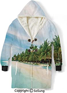 Ocean Blanket Sweatshirt,Surreal Beach and Sea in Tropical Island with Coconut Palm Trees Ocean Exotic Lands Wearable Sherpa Hoodie,Warm,Soft,Cozy,XXXXL,for Adults Men Women Teens Friends,Turquoise G