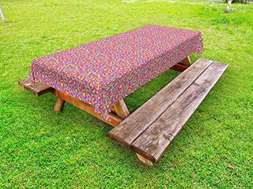 ABAKUHAUS Luipaard Tafelkleed voor Buitengebruik, Vet Funky Blobs en Stains, Decoratief Wasbaar Tafelkleed voor Picknicktafel, 58 x 120 cm, mosterd Pink