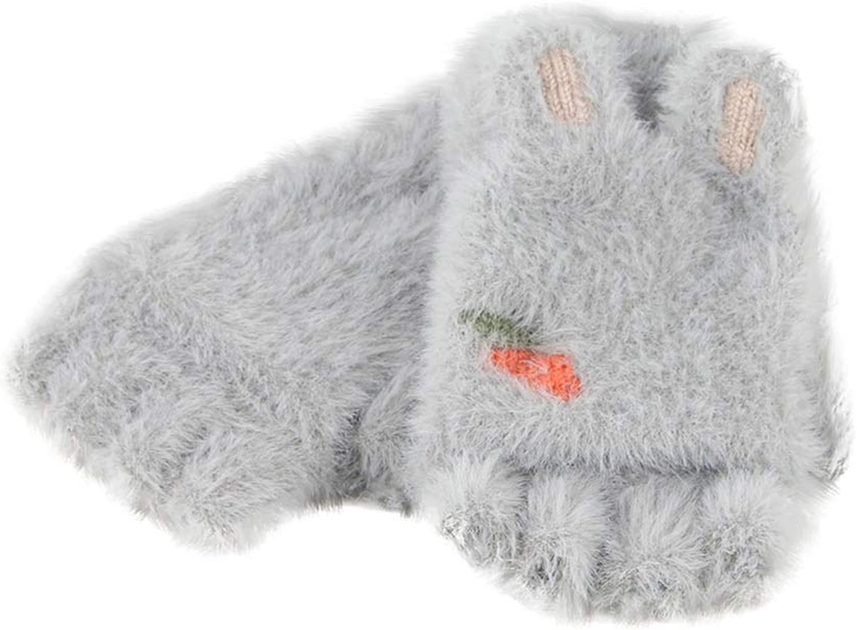 Rabbit Ears Plush Gloves Girls Flipped Half Finger Gloves invierno Outdoor Kids Gloves