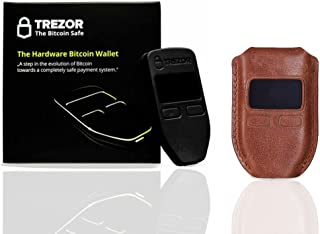 Trezor Black Hardware wallet with CryptoHWwallet Premium Brown Protective Leather case Gift set in retail box and dustbag