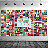 Maitys World Flag Banner International Flags Banner Country Flags Banner Backdrop Decoration with Brass Grommets