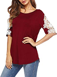 Sharemen Women's Mesh Sheer Cold Shoulder Short Sleeve Chiffon Blouse Tunic Top