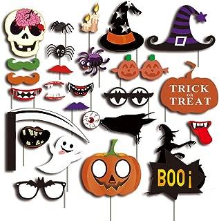 27PCS Halloween Party Card Masks Pumpkin Photo Booth Props Photography Supplies